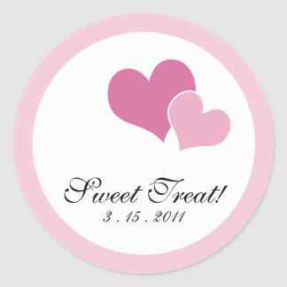 Double Heart Invitation Seals - Pink Classic Round Sticker