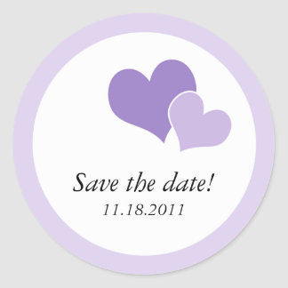 Double Heart Purple - Save the Date Stickers