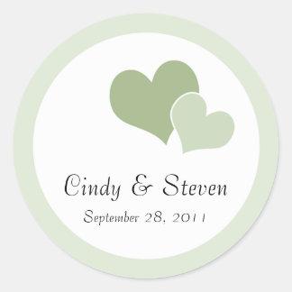 Double Heart Wedding Stickers - Green