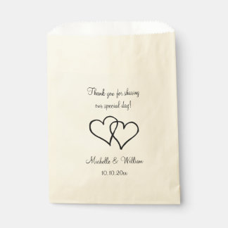 Double heart wedding thank you party favor bags