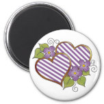 Double Heart with Purple & White Stripes Magnet