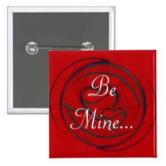 Double Hearts Be Mine Pinback Button