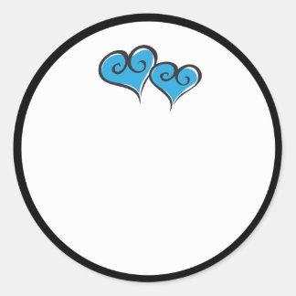 double hearts classic round sticker