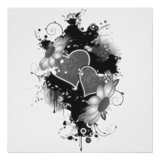 Double Hearts & Daisies - Grey B&W Print