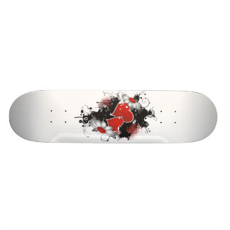 Double Hearts & Daisies - Original Colors Skateboard Deck