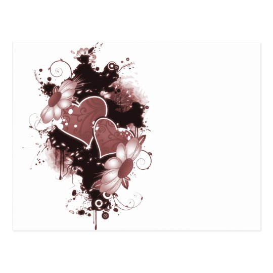 Double Hearts & Flowers - Red Postcard