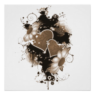 Double Hearts & Flowers - Sepia Brown Poster