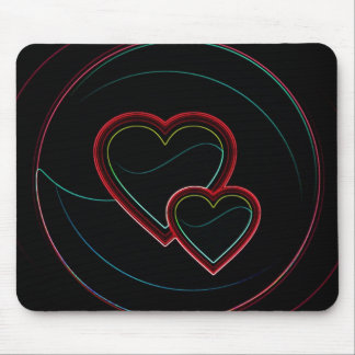 Double Hearts In Black Mouse Pad