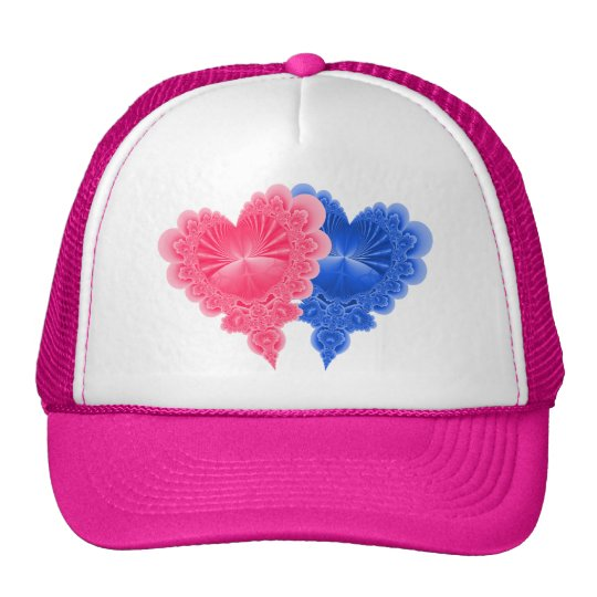 Double Hearts in Blue and Pink Trucker Hat