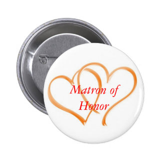 Double Hearts Matron of Honor Pinback Buttons