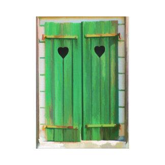 Double Hearts on Green Farm Shutters Canvas Print