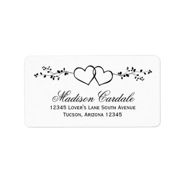 RusticCountryWedding Double Hearts Personalized Wedding Address Labels