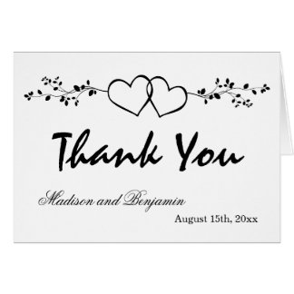 Double Hearts Personalized Wedding Thank You Cards