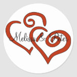 Double Hearts Seal Sticker