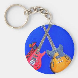 Double Heaven crossed guitars Guitar Art Keychain