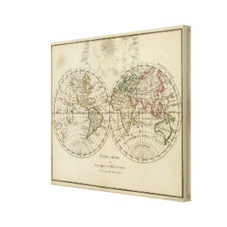 Double hemisphere map gallery wrapped canvas