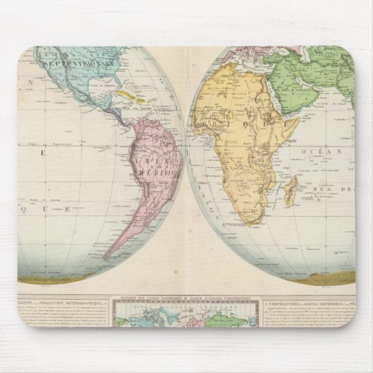 Double Hemisphere Map of the Climate Mouse Pad