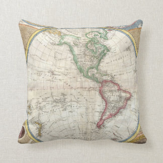 Double Hemisphere Map of the World - 1794 Throw Pillow