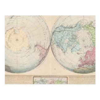 Double Hemisphere Map of the World Postcard