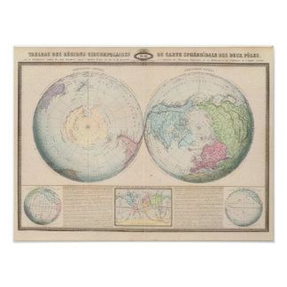 Double Hemisphere Map of the World Poster