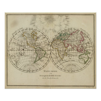 Double hemisphere map poster