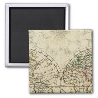 Double hemisphere map refrigerator magnet
