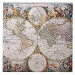 Double Hemisphere Polar Map Ceramic Tile