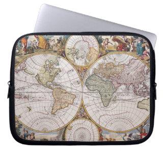 Double Hemisphere Polar Map Computer Sleeve