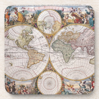 Double Hemisphere Polar Map Drink Coaster