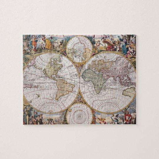 Double Hemisphere Polar Map Jigsaw Puzzle
