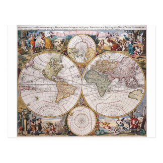 Double Hemisphere Polar Map Postcard