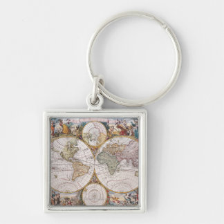 Double Hemisphere Polar Map Silver-Colored Square Keychain