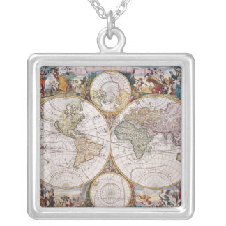 Double Hemisphere Polar Map Silver Plated Necklace
