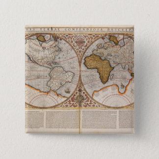 Double Hemisphere World Map, 1587 Button