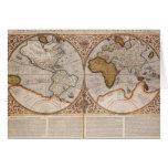 Double Hemisphere World Map, 1587 Card