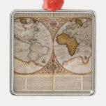 Double Hemisphere World Map, 1587 Metal Ornament