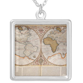Double Hemisphere World Map, 1587 Silver Plated Necklace