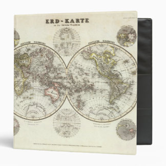 Double Hemisphere World Map 3 Ring Binder