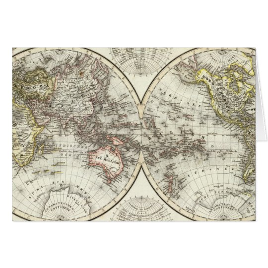 Double Hemisphere World Map Card