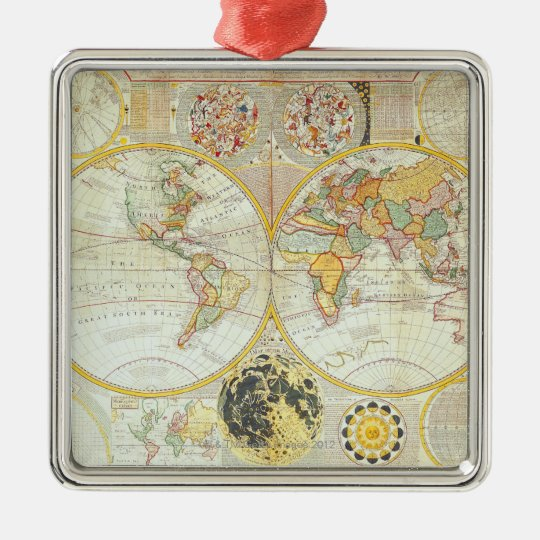 Double Hemisphere World Map Metal Ornament