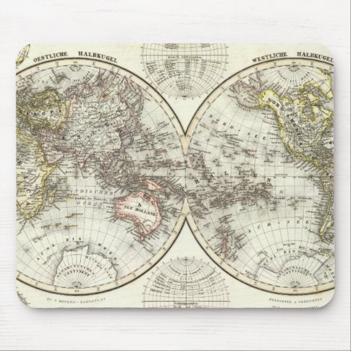 Double Hemisphere World Map Mouse Pads