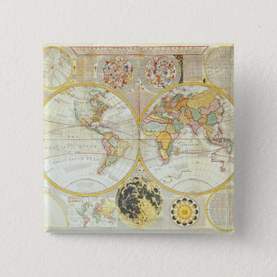Double Hemisphere World Map Pinback Button