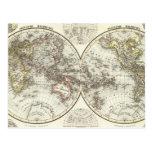 Double Hemisphere World Map Post Cards