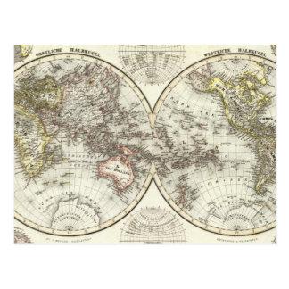 Double Hemisphere World Map Postcard