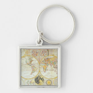 Double Hemisphere World Map Silver-Colored Square Keychain
