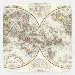 Double Hemisphere World Map Square Stickers