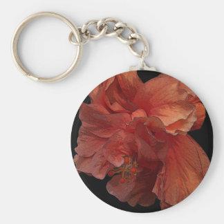 double hibiscus flower keychain