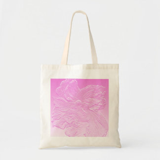double hibiscus flower pink basrelief budget tote bag