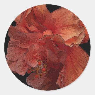 double hibiscus flower sticker