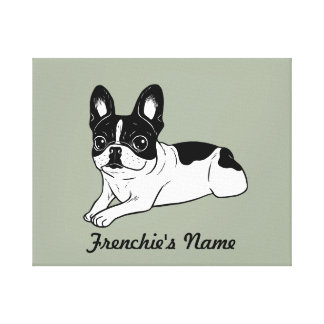 Double Hooded Pied Frenchie (Custom Name) Canvas Print